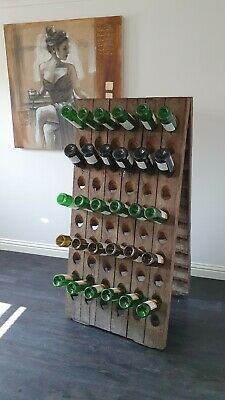 Vintage Antique French Solid Oak Riddling Rack Champagne Wine rack 120 bottles