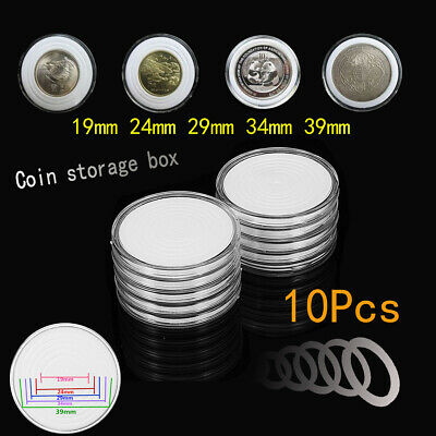 10Pcs Round Coin Storage Container Box Display Holder Plastic Cases Collection