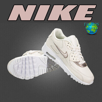 new concept 69ea1 331e8 Nike Kids Size 3.5Y Air Max 90 LTR GS Phantom Gold Red Bronze White 833376