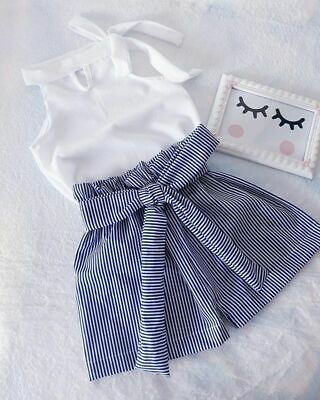 UK 2Pcs Toddler Kids Baby Girls Casual Outfits Clothes Tops Striped Shorts Pants