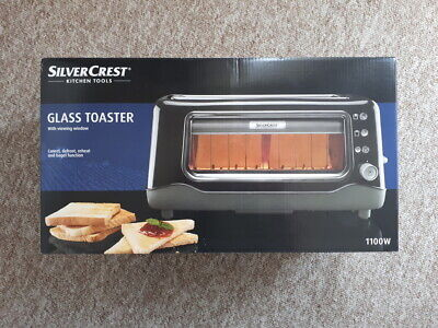 Stainless Steel Glass Front Defrost Reheat Toaster Slice Breakfast Roll Crumpets