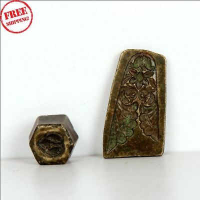 2 Pc 1940's Old Brass Metal Different Design Engraved Jewellery/pendant Dye 9443