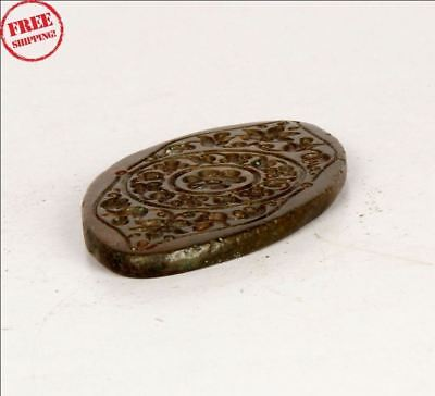 1900's Antique Old Brass Tribal  Engraved Jewellery Pendant Dye / Seal 9438