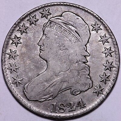 Nice 1824 Capped Bust Half Dollar      R10AFX