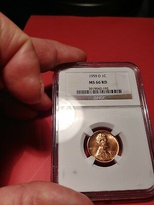 1959 D Lincoln Cent Ms66 Rd (Red)