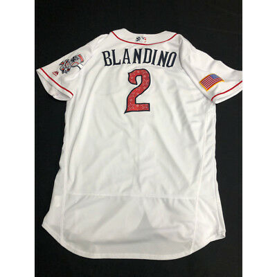 d56d2dcf Reds Alex Blandino Game-Used Stars and Stripes RC Jersey/hat Worn: July