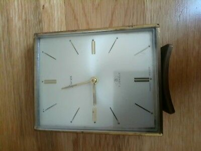 VINTAGE SWIZA BRASS CASED 8-DAY CLOCK SWISS MADE SPARES OR REPAIRS small alarm