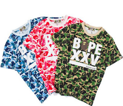 Men's BAPE fashion Camouflage Tops Tee A Bathing Ape Short Sleeve Cotton T-Shirt