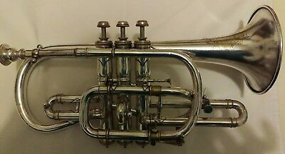1900 Conn New York Wonder Cornet - in Key of B Flat - Silver and Gold Plated