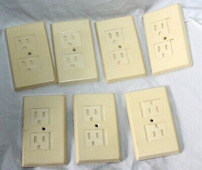 Vintage Lot Of 7 Almond Safety Slide Open Light Switch Plates Outlet Covers