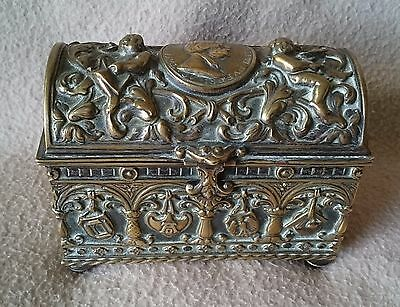 ANTIQUE CONTINENTAL GERMAN SILVER PLATE JEWELRY BOX HISTORISMUS ALBRECHT Dürer