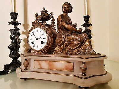 Antique French Ormolu and White Onyx Mantel Clock.
