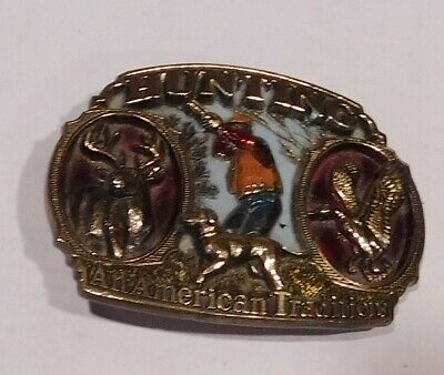 Vintage 1986 Hunting An American Tradition Man's Belt Buckle Made in USA