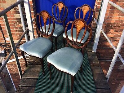 antique dining chairs 4,Victorian Mahogany With Floral Marquetry Inlay.