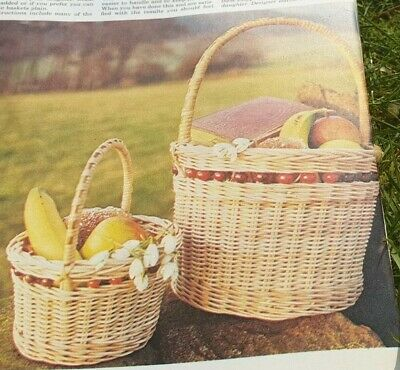Vintage   Pattern on How to make TWO  Carry  Baskets from.Cane Raffia Repro