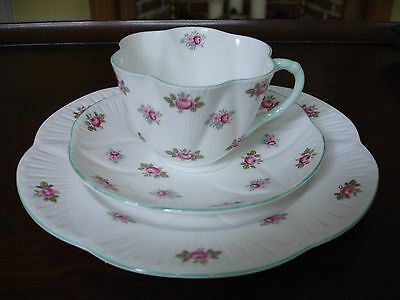 """Shelley China Trio """"Rosebud"""" Pattern 3 piece set (cup, saucer, and dessert)"""