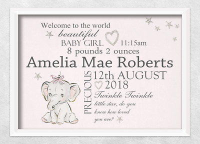 newborn personalised print elephant girl nursery christening gift new baby birth
