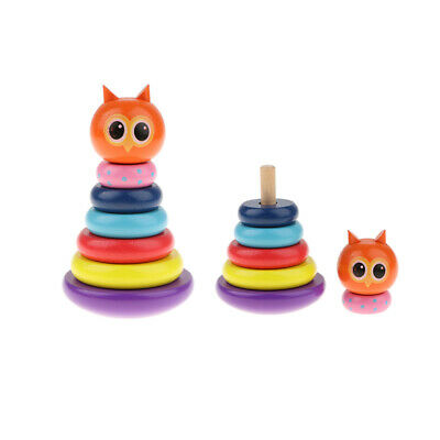 Wooden Colorful Stacking Rings Toy Baby Toddler Stack & Sorting Toy
