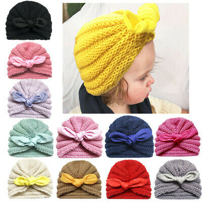 Baby Kids Toddler Winter Warm Rabbit Ear Knitted Beanie Turban Hat Cap Props Hot