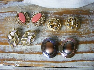 Vintage 1960s Retro Gold-tone Metal Clip Back Earrings Lot of 4 Pair