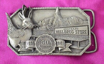 Wall Drug Store Belt Buckle 50th Anniversary 1981 VINTAGE Siskiyou USA Pewter?