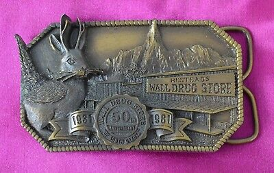 Wall Drug Store Belt Buckle 50th Anniversary 1981 VINTAGE Siskiyou Co USA Brass?