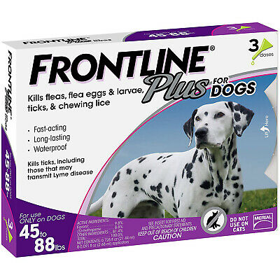 NEW Frontline Plus for Large Dog 45 to 88 pounds Flea and Tick Treatment 3Doses