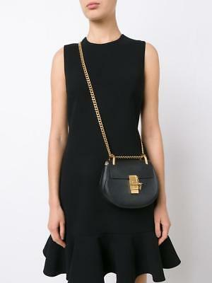 d955e3ad0d AUTHENTIC CHLOE DREW thick chain saddle with dust bag Small Black Leather  NWT