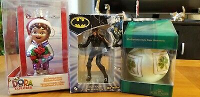 Lot of 3 Kurt Adler Christmas Ornament  Batman Dora the Explorer & Irish Home