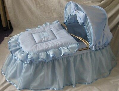 'prince'  Blue Organza And Ribbon  Moses Basket Cover Set By Babyfanzone