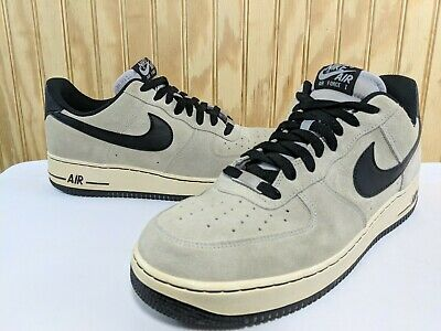 new arrivals 451ee 4ed35 Mens Nike Air Force 1 Size 12 Wolf Grey Black White Nubuck Low Shoes 488298-