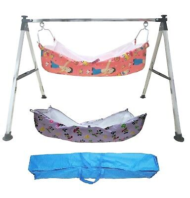 Baby Cradle, Cote, Swing fully folding Steel with two unit of cotton hammock.