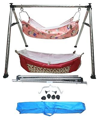 Smart Folding Cradle Steel Round Pipe with two Cotton Hammocks with Zip Net