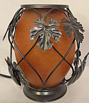 New Full Size Home Fragrance Warmer By Estate Pumpkin Design W/Black Metal Vines