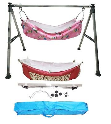 Smart Baby Steel Squire Pipe Folding Baby Cradle With Two Cotton Hammocks