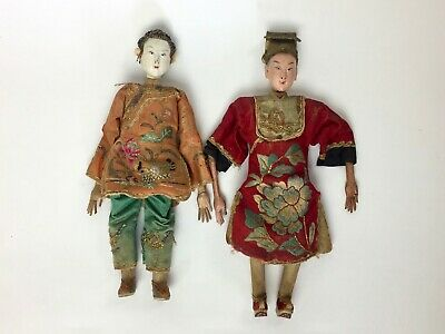 Pair of Antique 19th Century Qing Dynasty Theatre/Opera Dolls