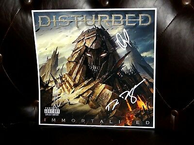 Disturbed Band Signed Immortalized 12X12 Album Cover Photo & Setlist!!!