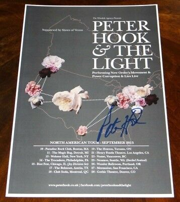Peter Hook & The Light Signed 12X18  Tour Poster New Order & Joy Division!!!!