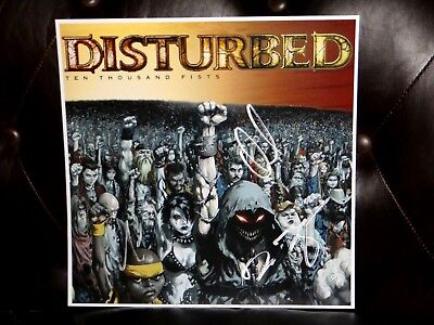 Disturbed Band Signed Ten Thousand Fists 12X12 Album Cover Photo & Setlist!!!