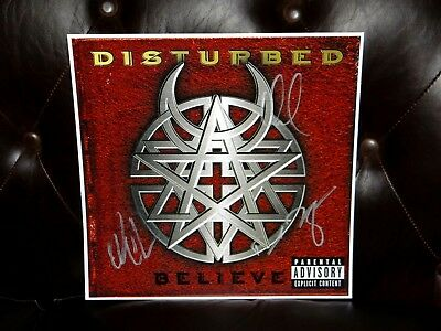 Disturbed Band Signed Believe 12X12 Album Cover Photo & Setlist!!!