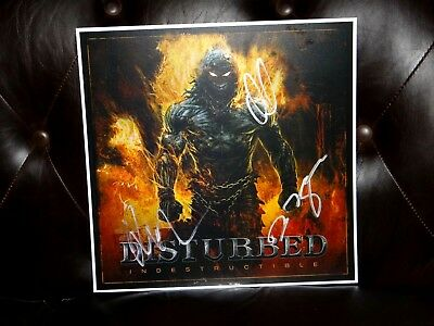 Disturbed Band Signed Indestructible 12X12 Album Cover Photo & Setlist!!!