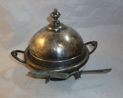 Vintage Silverplate Covered Round Butter Dish with Knife Rogers