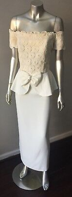 Peplum Retro Vintage Off Shoulder Bow Bridal Wedding White Formal Column Dress
