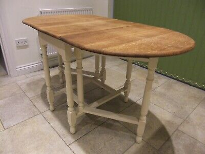 Retro Vintage Mid Century oak drop leaf gate leg table CC41 refurbished upcycled