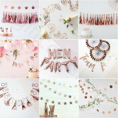 Team Bride Rose Gold Vintage Hen Night Party Banner Bunting Decorations Supplies