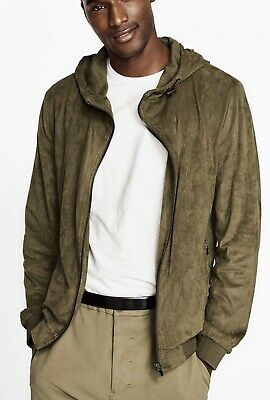 a6fe453a Zara Man Hoodie Large Olive Green Perforated Faux Suede Jacket Full Zip Mens  New