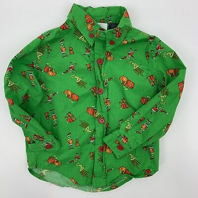 Dr. Seuss Grinch Stole Christmas Long Sleeve Button Down Baby Boy 12M