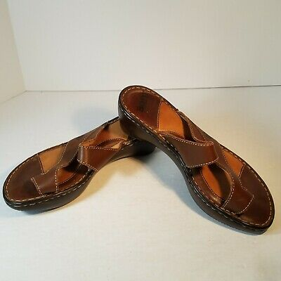 fa5ed34f38b7 Born Womens Toe Ring Wrap Sandals Leather Slip On Wedge Heel Brown Size 7