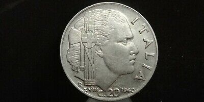 WWII Vittorio Emanuele III Italy 1942-20 Centesimi Stainless Steel Coin