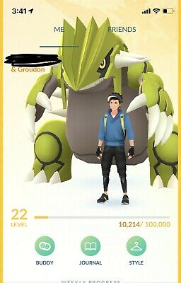 Pokemon Go Account with 4Mewtwo,Shiny Groudon,Dialga,Palkia,Rayquaza,Latias